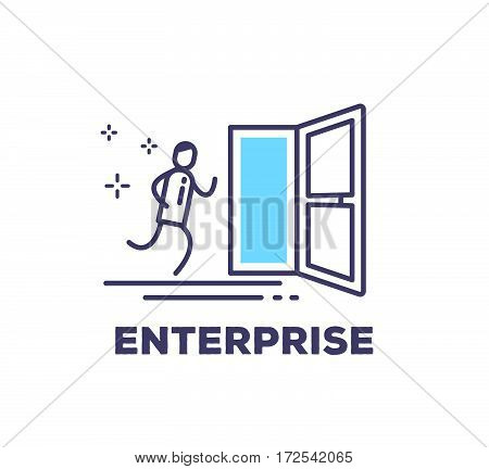 Vector Business Illustration Of A Man Running Into The Open Blue Door On White Background With Title
