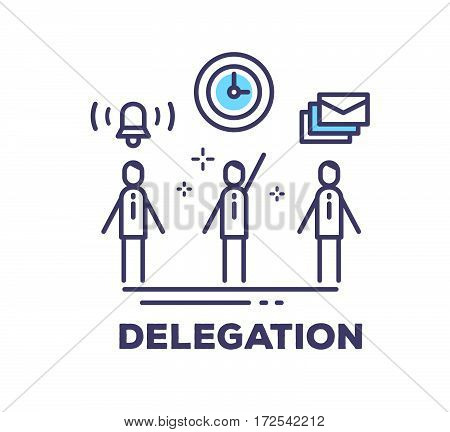 Vector Business Illustration Of Men In Suits Standing Together And Icons On White Background With Ti