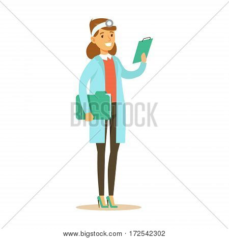 Female Doctor With Cipboard Wearing Medical Scrubs Uniform Working In The Hospital Part Of Series Of Healthcare Specialists. Smiling Cartoon Character Professional Doctor Of Medicine At Work In Clinic.