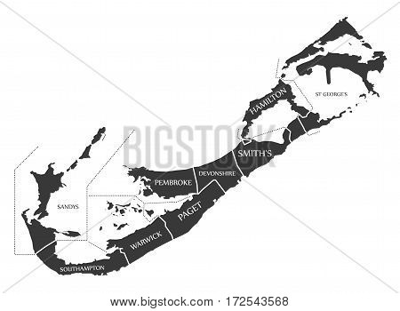 Bermuda Map labelled black illustration mainland silhouette