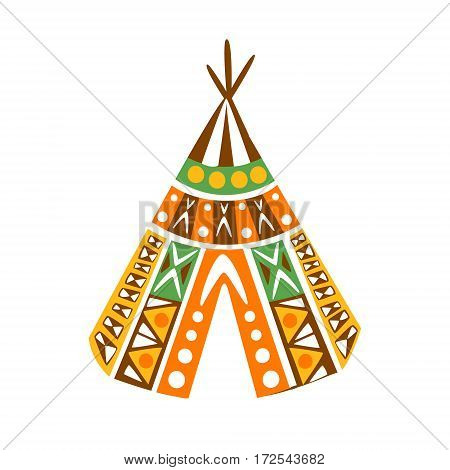 Wigwam Hut With Decorative Pattern Textile, Native Indian Culture Inspired Boho Ethnic Style Print. Tribal American Stylized Vector Illustration For Hipster Fashion Typographic Template.
