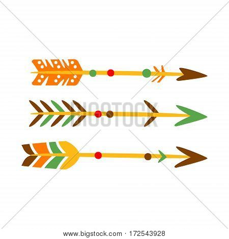 Three Decorated Bow Arrows, Native Indian Culture Inspired Boho Ethnic Style Print. Tribal American Stylized Vector Illustration For Hipster Fashion Typographic Template.