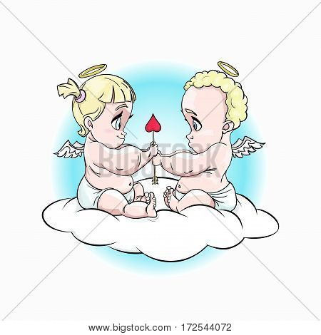 Chibi cute little cupids fall in love. They are sitting on a cloud and holding heart arrow. Sky round background. Stock vector cartoon illustration