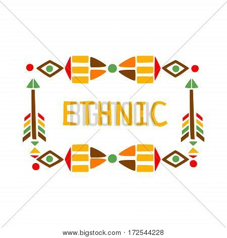 Ornamental Frame With Feathers And Beads, Native Indian Culture Inspired Boho Ethnic Style Print. Tribal American Stylized Vector Illustration For Hipster Fashion Typographic Template.