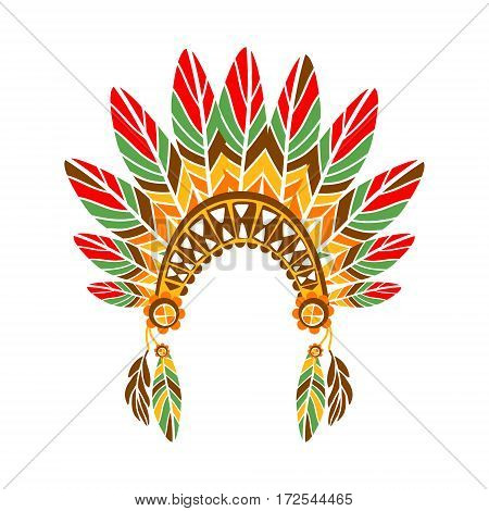 Chief War Bonnet With Feathers , Native Indian Culture Inspired Boho Ethnic Style Print. Tribal American Stylized Vector Illustration For Hipster Fashion Typographic Template.
