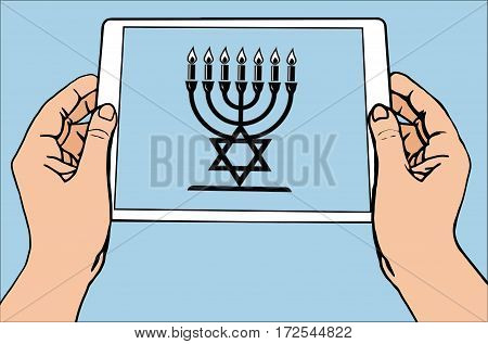 The most important symbol in the religion of Judaism - the menorah, tablet,  blue sun rays, vector