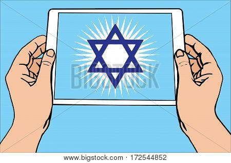 The most important symbol in the religion of Judaism -  the Sun Star Of David, tablet, blue background, vector
