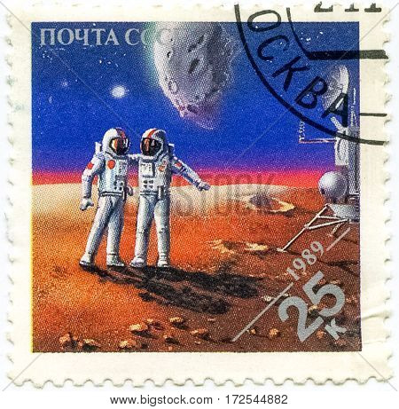 USSR - CIRCA 1989: Stamps Printed In Russia Dedicated To Exploration In Space Circa 1989. Cosmonauts on Mars.