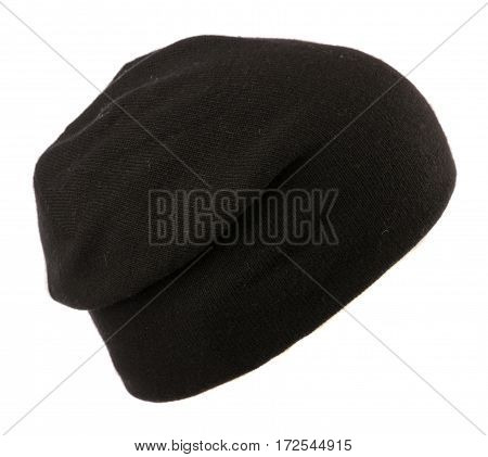Hat Isolated On White Background .knitted Hat . Black Hat