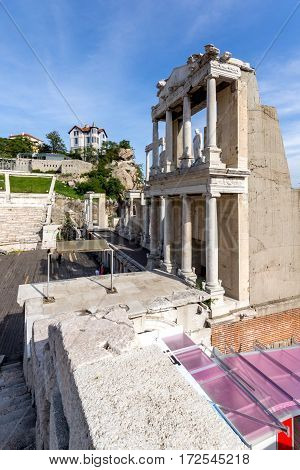 Remainings of Ancient Roman theatre in Plovdiv, Bulgaria