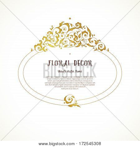 Vector Vintage Frame In Eastern Style.