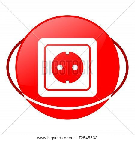 Red icon, power socket vector illustration on white background