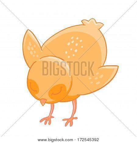 Little cartoon chicken pecks of grain. Vector illustration.T-shirt print. Greeting card.