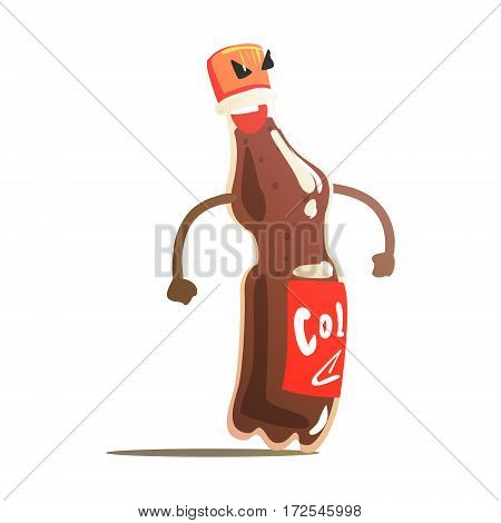 Soft Soda Drink In Flastic Fottle Street Fighter, Fast Food Bad Guy Cartoon Character Fighting Illustration. Junk Food Menu Item With Evil Face Looking For A Fight Vector Drawing.