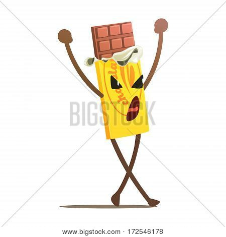Chocolate Bar Half Unwrapped Street Fighter, Fast Food Bad Guy Cartoon Character Fighting Illustration. Junk Food Menu Item With Evil Face Looking For A Fight Vector Drawing.
