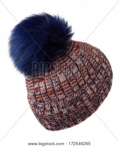 Women's Hat . Knitted Hat Isolated On White Background.motley  Hat