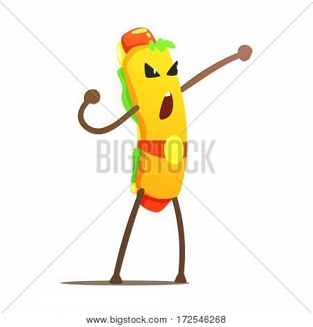 Hot Dog In Champion Belt Street Fighter, Fast Food Bad Guy Cartoon Character Fighting Illustration. Junk Food Menu Item With Evil Face Looking For A Fight Vector Drawing.