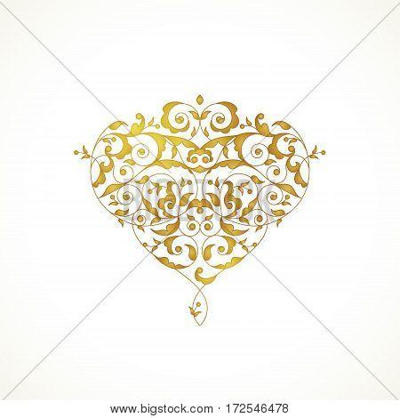 Ornate Vector Heart In Eastern Style.