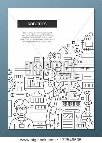 Robotics - vector plain line design brochure poster, flyer presentation template, A4 size layout. Robots, smart technology