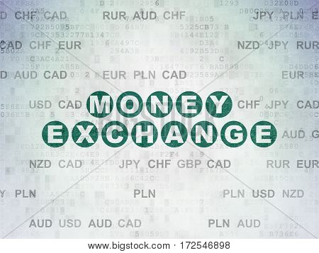 Money concept: Painted green text Money Exchange on Digital Data Paper background with Currency