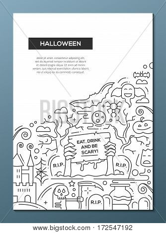 Halloween - vector plain line design brochure poster, flyer presentation template, A4 size layout. Eat, drink and be scary