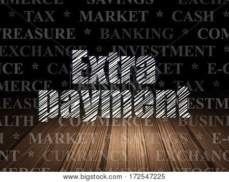 Banking concept: Glowing text Extra Payment in grunge dark room with Wooden Floor, black background with  Tag Cloud