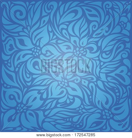 Blue vintage background design with decorative flowers