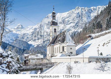 Church Of Ramsau In Winter, Bavaria, Germany