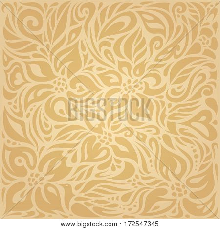 Floral Ocher ecru brown vector pattern design