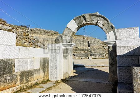 Ruins of Ancient Theater in the archeological area of Philippi, Eastern Macedonia and Thrace, Greece
