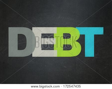 Currency concept: Painted multicolor text Debt on School board background, School Board