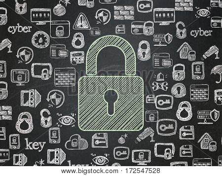 Privacy concept: Chalk Green Closed Padlock icon on School board background with  Hand Drawn Security Icons, School Board
