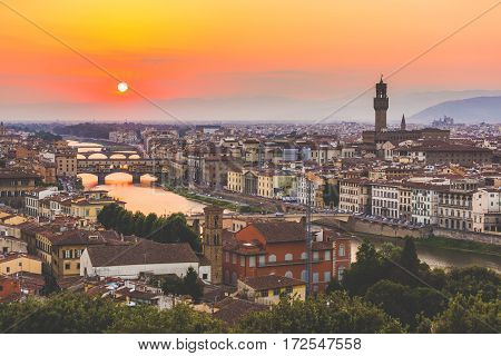 Panoramic View Of Florence At Sunset