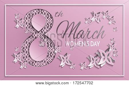 Vector illustration of International women's day 8 March holiday pink greeting card with floral and butterfly pattern design and brown background with ornament. All layers are isolated