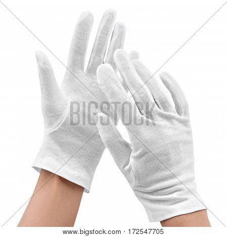 Hands in white gloves isolated on a white background