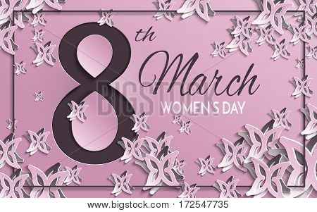 Vector illustration of International women's day 8 March holiday greeting card with floral and butterfly paper cut design and pink background with frame. All layers are isolated