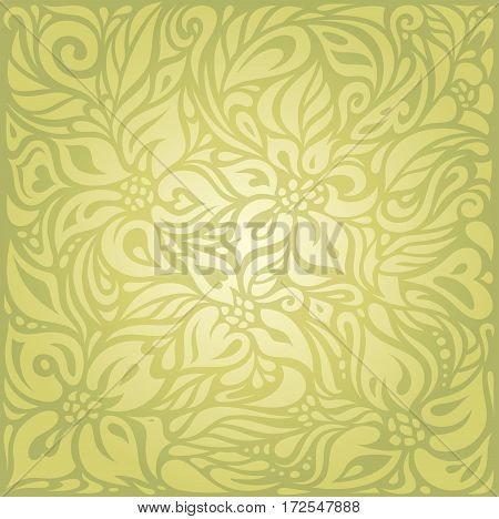 Green floral vintage  vector decorative background design