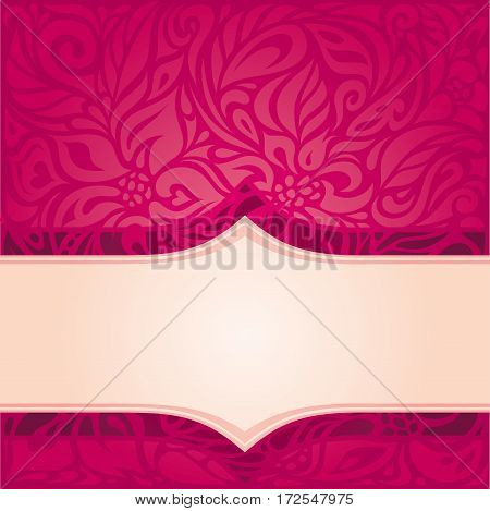 Retro floral red vector pattern design template