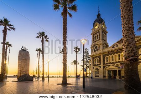 Adelaide Australia - August 22 2015: Moseley Square with Pioneer Memorial in the middle at night. Moseley Square is a public square in the City of Holdfast Bay at Glenelg. Long exposure camera settings