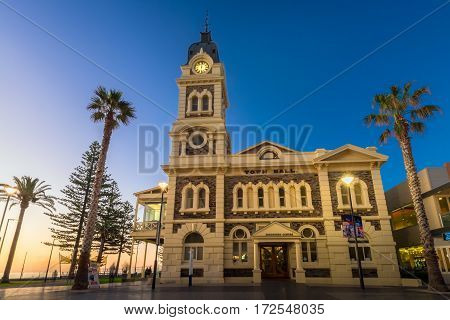 Adelaide Australia - August 22 2015: Glenelg Town Hall at Moseley Square at night. Moseley Square is a public square in the City of Holdfast Bay at Glenelg. Long exposure camera settings