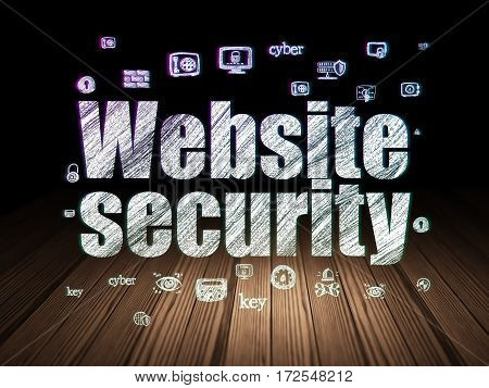 Security concept: Glowing text Website Security,  Hand Drawn Security Icons in grunge dark room with Wooden Floor, black background