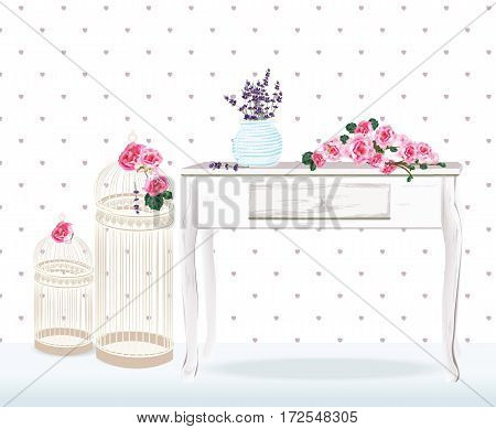Vintage wedding decor peony, lavender, bird cages on a wood table. Retro style for wedding, birthday,