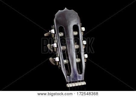 Neck Guitar On A Black Background.