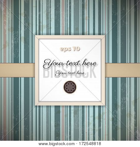 Vintage vector card. Old striped paper tape and stains. Square frame for your text.