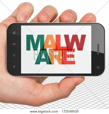 Security concept: Hand Holding Smartphone with Painted multicolor text Malware on display, 3D rendering