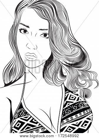 Portrait of beautiful young woman with elegant haircut. Freehand drawing. Vector image.