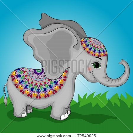 Cute Circus Elephant Character Dressed Up Circular Ornament, Indian, Hand Drawn Vector Illustration EPS