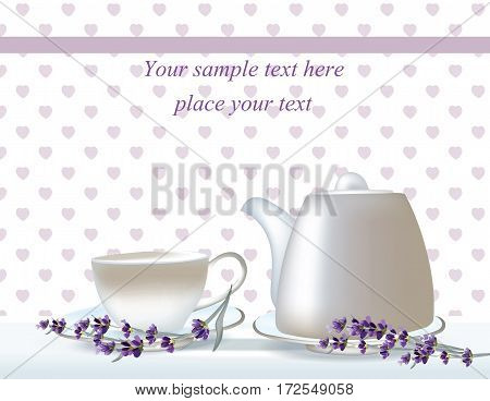 Vector delicate Tea time card. herbs banners with lavender. Design for herbal tea, natural cosmetics, health care products, homeopathy, aromatherapy. Place for your text