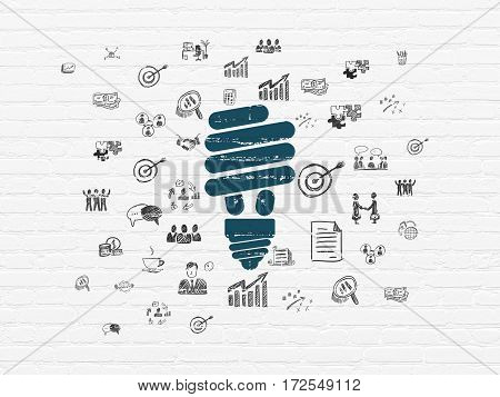 Finance concept: Painted blue Energy Saving Lamp icon on White Brick wall background with  Hand Drawn Business Icons