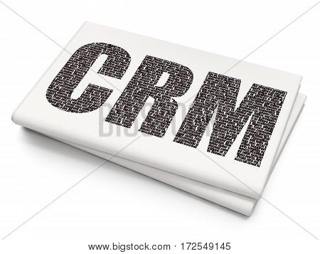 Finance concept: Pixelated black text CRM on Blank Newspaper background, 3D rendering